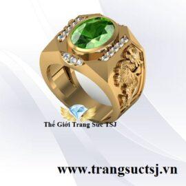 Nhẫn Tỳ Hưu Nam Vàng 18k Đá Sapphire Xanh Lá