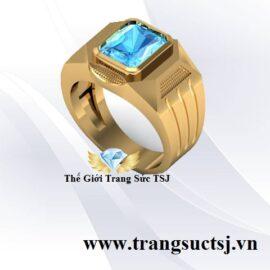 Nhẫn Vàng 18k Nam Đá Topaz Xanh - Trang Sức TSJ Quận 1