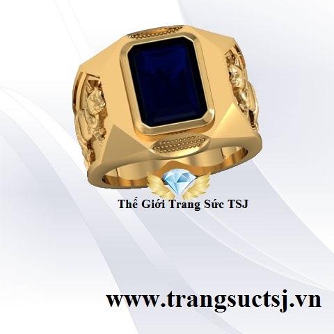 Nhẫn Nam Sapphire Thiên Nhiên Phong Thủy