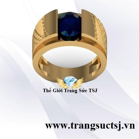 Nhẫn Sapphire Nam Màu Xanh Bích