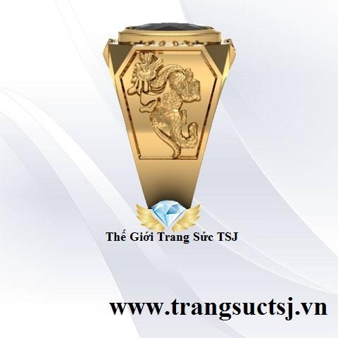 Nhẫn Tỳ Hưu Vàng 18k Nam Đẹp Đính Đá Sapphire
