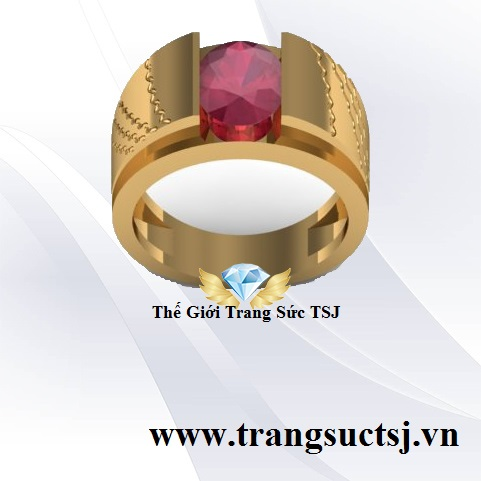 Nhẫn Nam Vàng 18k Nam Hợp Phong Thủy Đá Ruby