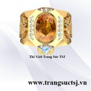 Nhẫn Vàng Nam Tỳ Hưu Phong Thủy Mặt Đá Vàng