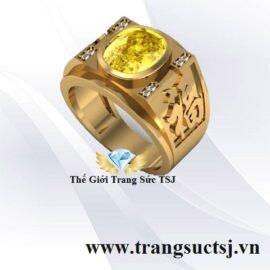 Nhẫn Chữ Phúc Nam Đá Sapphire Vàng