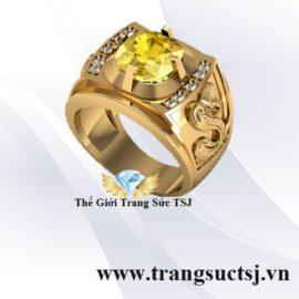 Nhẫn Nam Sapphire Vàng Khắc Hình Rắn