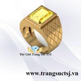 Nhẫn Nam Thời Trang Đá Cỉtrine Vàng - Trang Sức TSJ