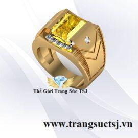 Nhẫn Nam Hiện Đại Mặt Đá Sapphire Vàng