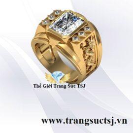Nhẫn Nam Hình Con Giáp Đẹp Đá Topaz Trắng TSM859
