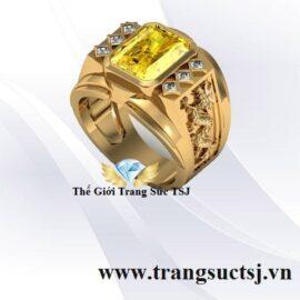 Nhẫn Nam Sang Trọng Khắc Hình Rồng Đá Sapphire Vàng