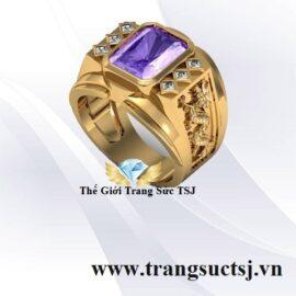 Nhẫn Nam Vàng 18k Đẹp Đá Thạch Anh Tím