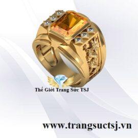 Nhẫn Rồng Vàng 18k Đẹp Đá Citrine Vàng