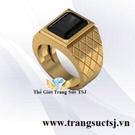 Nhẫn Vàng 18k Nam Đẹp Mặt Đá Sapphire Đen