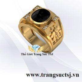Nhẫn Vàng Nam Chữ Phúc Đính Đá Sapphire