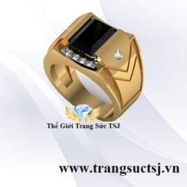 Nhẫn Vàng Nam Sang Trọng Đá Sapphire Đen