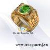 Nhẫn Nam Vàng 18k Đẹp Hình Chữ Phúc Đính Đá Sapphire