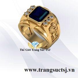 Nhẫn Nam Hợp Mệnh Thủy Đá Sapphire Xanh Bích